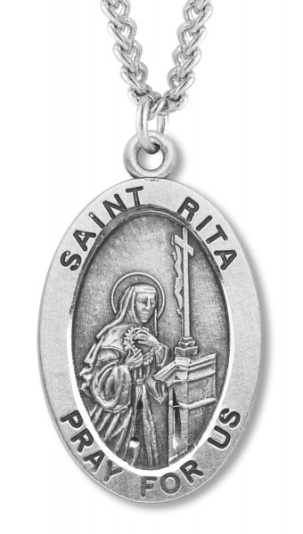 "Women's St. Rita Necklace Oval Sterling Silver with Chain Options - 20"" 2.25mm Rhodium Plated Chain with Clasp"