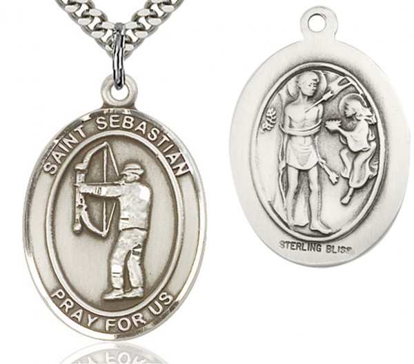 "St. Sebastian Archery Medal, Sterling Silver, Large - 24"" Sterling Silver Chain + Clasp"