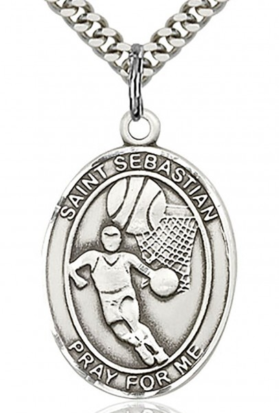 "St. Sebastian Basketball Medal, Sterling Silver, Large - 24"" 2.4mm Rhodium Plate Endless Chain"