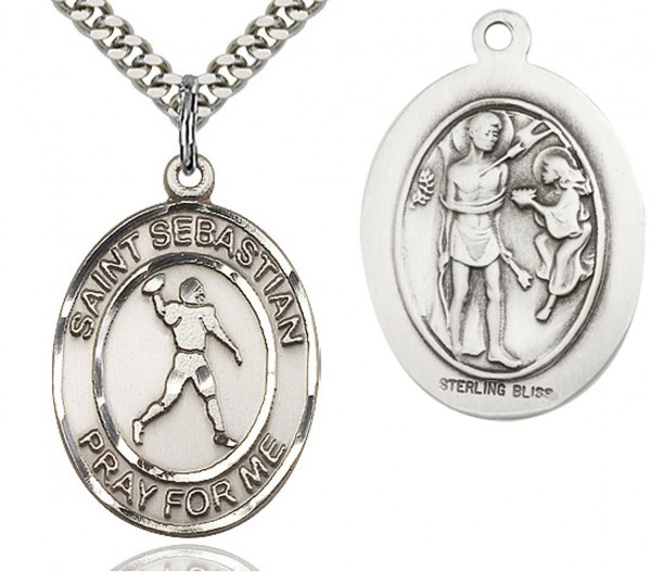 "St. Sebastian Football Medal, Sterling Silver, Large - 24"" 2.4mm Rhodium Plate Chain + Clasp"