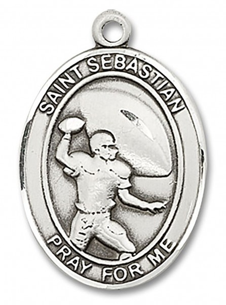 St. Sebastian Football Medal, Sterling Silver, Large - No Chain