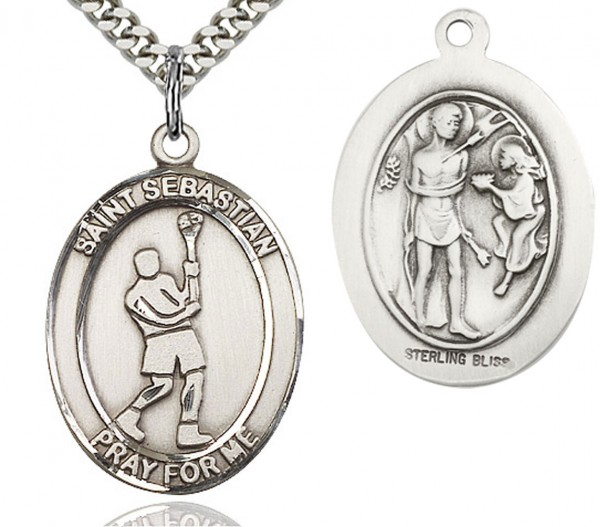 "St. Sebastian Lacrosse Medal, Sterling Silver, Large - 24"" 2.4mm Rhodium Plate Chain + Clasp"