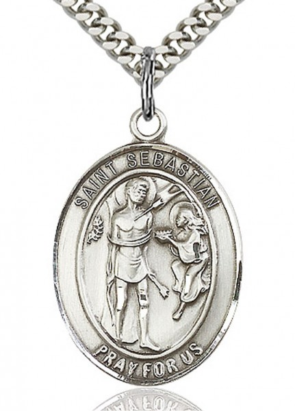 "St. Sebastian Medal, Sterling Silver, Large - 24"" 2.4mm Rhodium Plate Endless Chain"