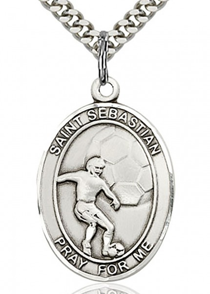 "St. Sebastian Soccer Medal, Sterling Silver, Large - 24"" Sterling Silver Chain + Clasp"
