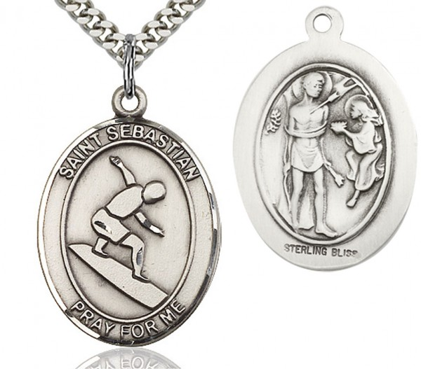 "St. Sebastian Surfing Medal, Sterling Silver, Large - 24"" 2.4mm Rhodium Plate Endless Chain"