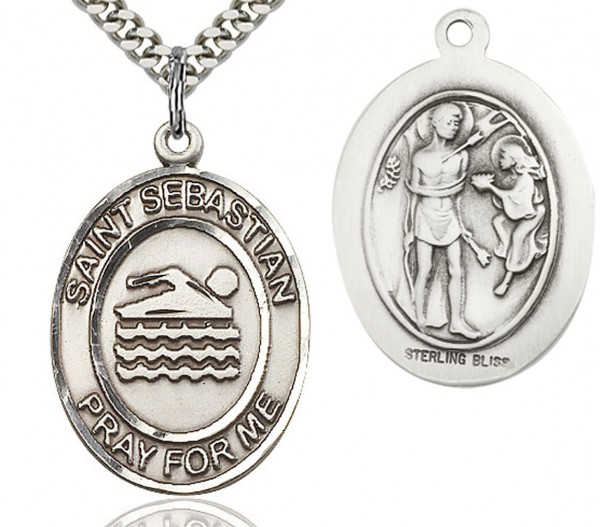 "St. Sebastian Swimming Medal, Sterling Silver, Large - 24"" Sterling Silver Chain + Clasp"