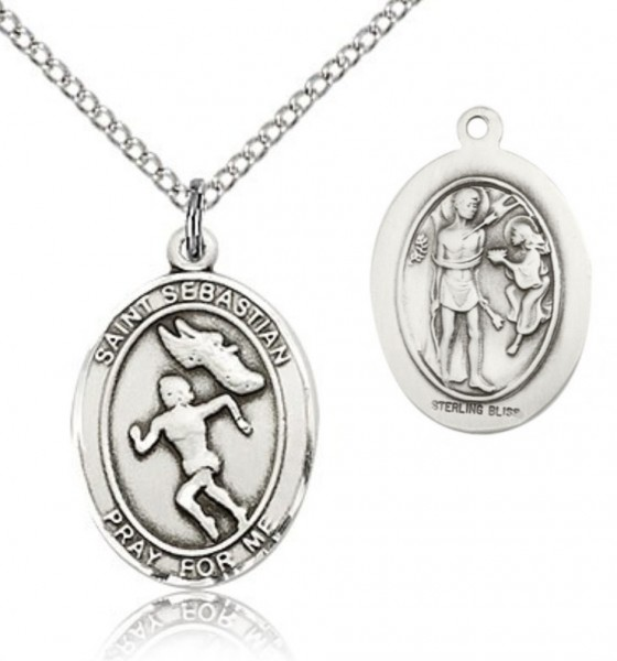 "St. Sebastian Track and Field Medal, Sterling Silver, Medium - 18"" 1.2mm Sterling Silver Chain + Clasp"
