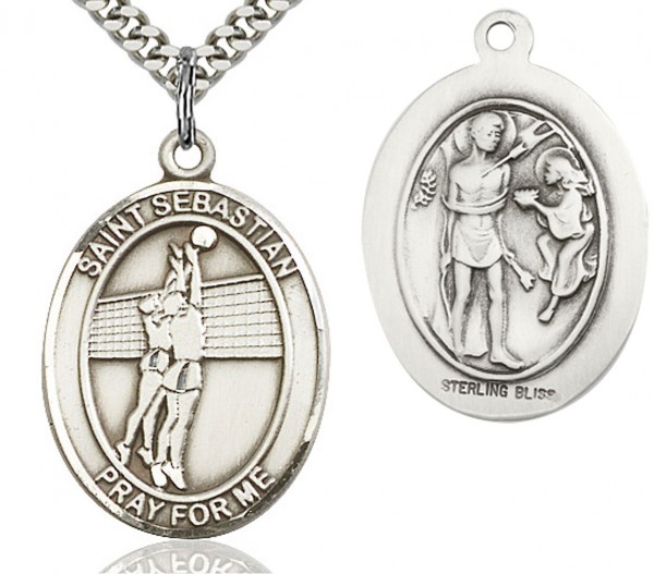"St. Sebastian Volleyball Medal, Sterling Silver, Large - 24"" 2.4mm Rhodium Plate Endless Chain"