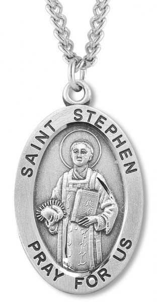 "Men's St. Stephen Necklace Oval Sterling Silver with Chain Options - 24"" Sterling Silver Chain + Clasp"