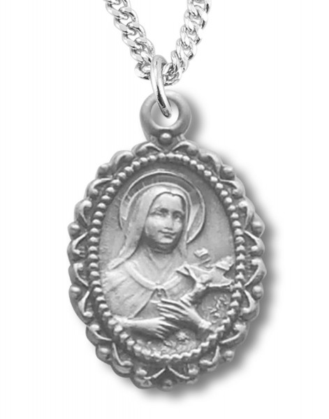 "St. Therese Medal Sterling Silver - 18"" 2.1mm Rhodium Plate Chain + Clasp"