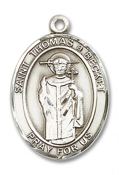 St. Thomas A Becket Medal, Sterling Silver, Large - No Chain