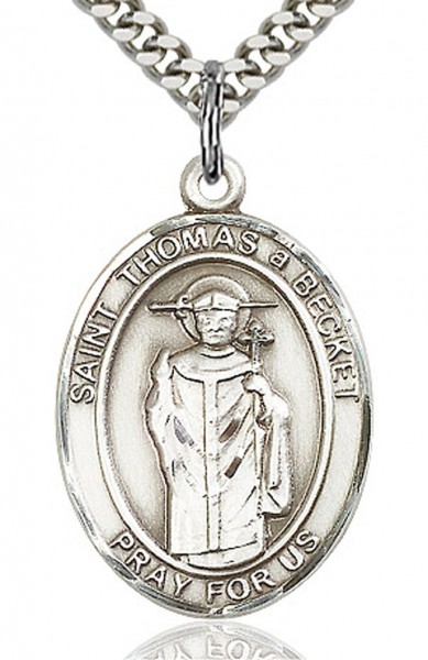 "St. Thomas A Becket Medal, Sterling Silver, Large - 24"" 2.4mm Rhodium Plate Endless Chain"