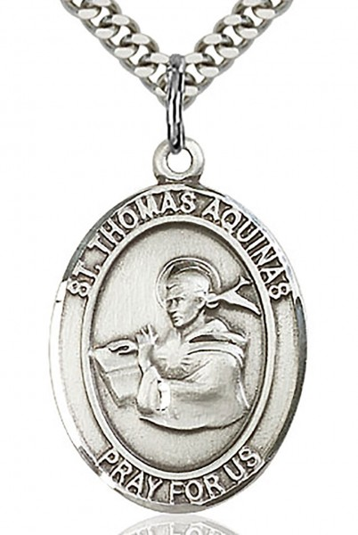 "St. Thomas Aquinas Medal, Sterling Silver, Large - 24"" 2.4mm Rhodium Plate Chain + Clasp"