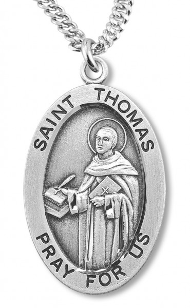 "Boy's St. Thomas Necklace Oval Sterling Silver with Chain - 20"" 2.25mm Rhodium Plated Chain with Clasp"