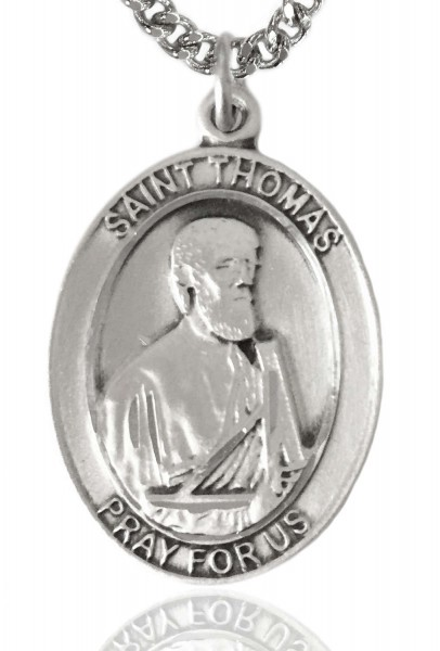 "St. Thomas the Apostle Medal, Sterling Silver, Large - 24"" 2.4mm Rhodium Plate Chain + Clasp"