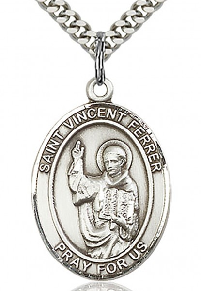 "St. Vincent Ferrer Medal, Sterling Silver, Large - 24"" 2.4mm Rhodium Plate Chain + Clasp"