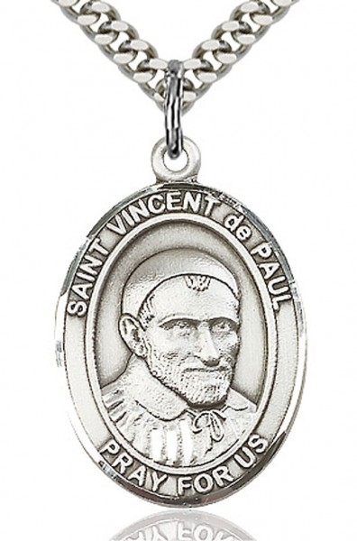 "St. Vincent de Paul Medal, Sterling Silver, Large - 24"" Sterling Silver Chain + Clasp"