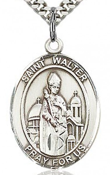 "St. Walter of Pontnoise Medal, Sterling Silver, Large - 24"" 2.4mm Rhodium Plate Endless Chain"