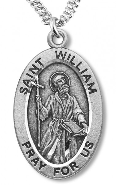 "c174bb0a4d5 Boy's St. William Necklace Oval Sterling Silver with Chain - 20""  2.25mm Rhodium"