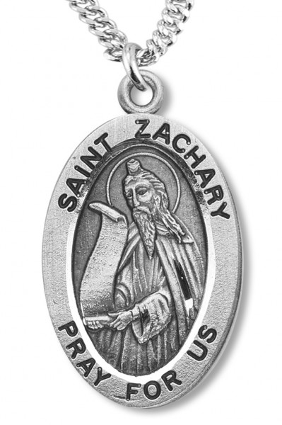 "Boy's St. Zachary Necklace Oval Sterling Silver with Chain - 20"" 2.25mm Rhodium Plated Chain with Clasp"