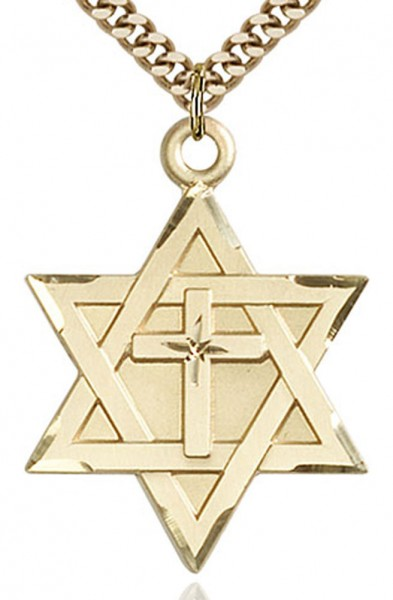 "Star of David with Cross Pendant, Gold Filled - 24"" 2.4mm Gold Plated Endless Chain"
