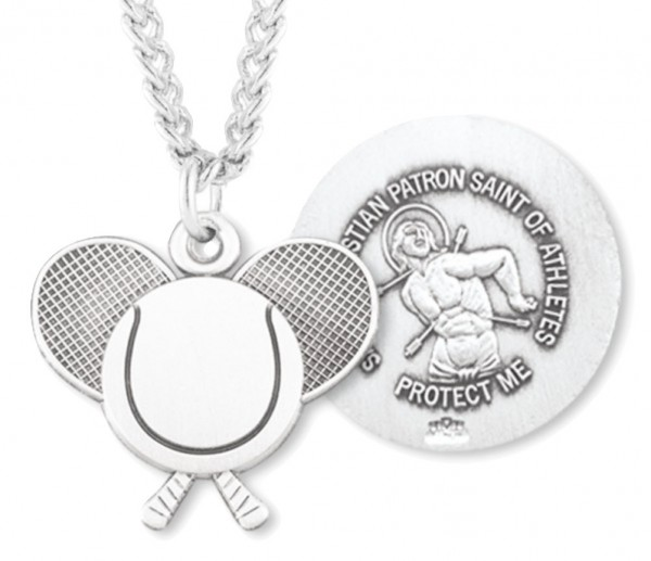 "Tennis Rackets Necklace with Saint Sebastian Back in Sterling Silver - 20"" 2.25mm Rhodium Plated Chain with Clasp"