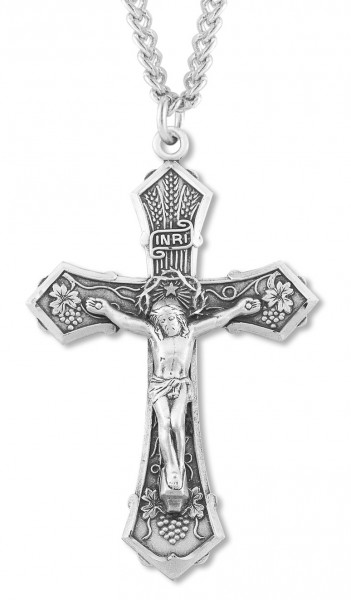 "Men's Wheat and Grapes Crucifix Necklace, Sterling Silver with Chain Options - 20"" 2.25mm Rhodium Plated Chain with Clasp"