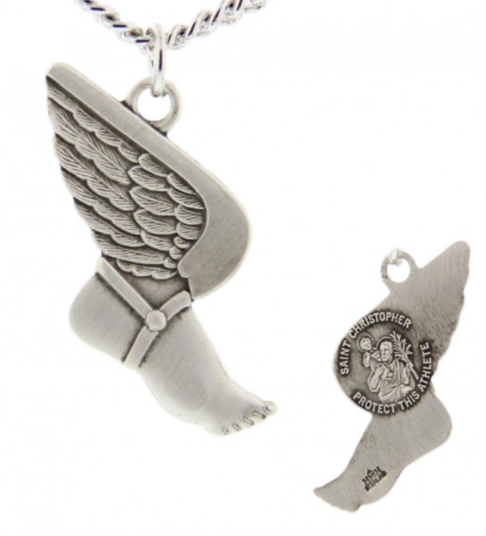 "Winged Foot Track Necklace with Necklace Christopher Back in Sterling Silver - 24"" 2.4mm Rhodium Plate Endless Chain"