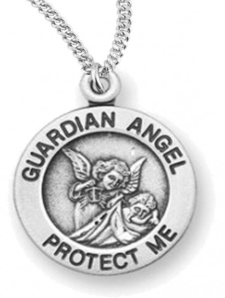 "Woman's Guardian Angel Necklace Round, Sterling Silver with Chain Options - 20"" 2.25mm Rhodium Plated Chain with Clasp"