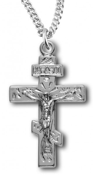 "Woman's Saint Andrew Crucifix Necklace, Sterling Silver with Chain Options - 20"" 2.25mm Rhodium Plated Chain with Clasp"