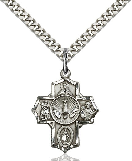 "Women's / Boys Sterling Silver 5 Way Cross Pendant - 20"" 2.25mm Rhodium Plated Chain with Clasp"
