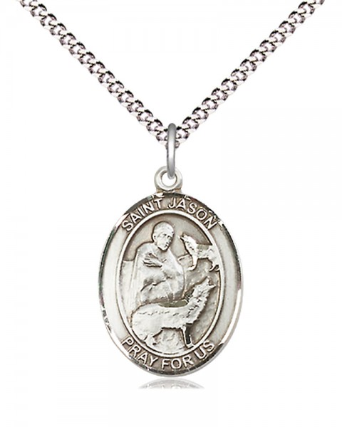"Women's Pewter Oval St. Jason Medal - 18"" Rhodium Plated Medium Chain + Clasp"