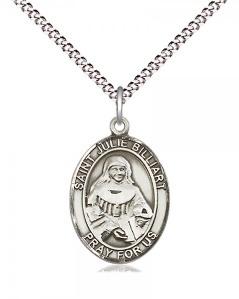 "Women's Pewter Oval St. Julie Billiart Medal - 18"" Rhodium Plated Medium Chain + Clasp"