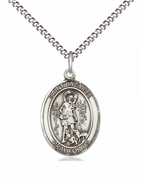 "Women's Pewter Oval St. Lazarus Medal - 18"" Rhodium Plated Medium Chain + Clasp"