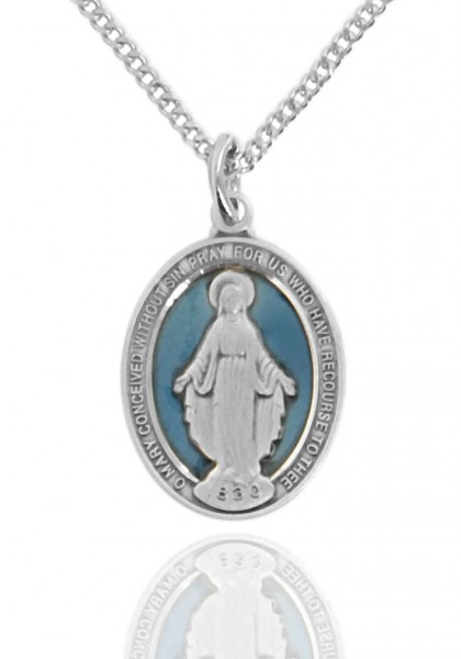 "Women's Sterling Silver Oval Blue Enamel Miraculous Medal - 18"" 2.1mm Rhodium Plate Chain + Clasp"
