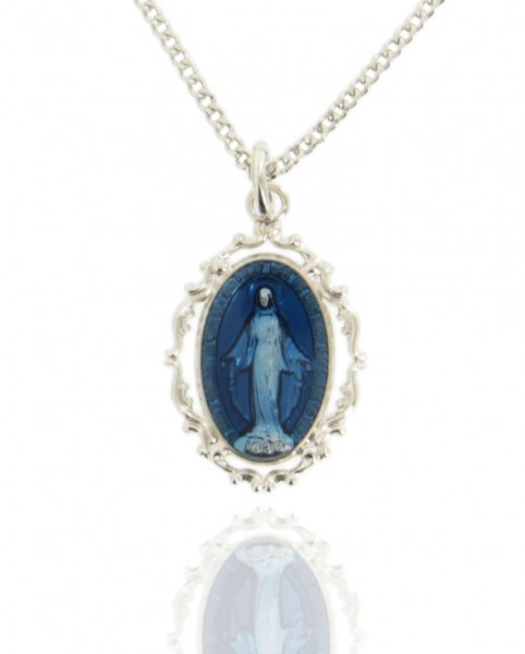 "Women's Sterling Silver Oval Dark Blue Enamel Miraculous Medal with Baroque Border - 18"" 2.1mm Rhodium Plate Chain + Clasp"