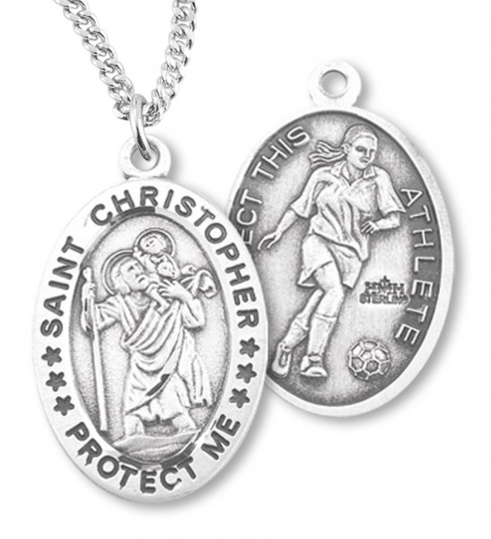 "Women's Sterling Silver Saint Christopher Soccer Oval Necklace - 18"" 1.8mm Sterling Silver Chain + Clasp"