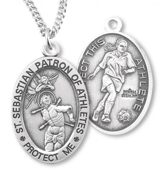 "Women's Sterling Silver Saint Sebastian Soccer Oval Necklace - 18"" 2.1mm Rhodium Plate Chain + Clasp"