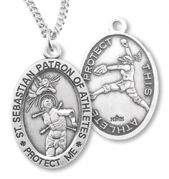 "Women's Sterling Silver Saint Sebastian Softball Oval Necklace - 20"" 1.8mm Sterling Silver Chain + Clasp"