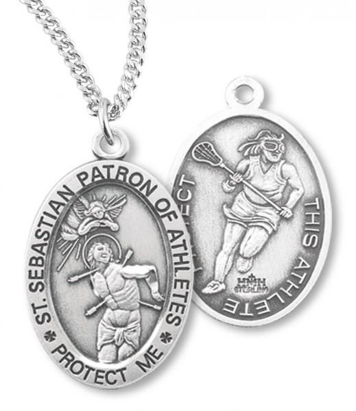 "Girl's Oval Double-Sided Lacrosse Necklace with Saint Sebastian Back in Sterling Silver - 18"" 2.1mm Rhodium Plate Chain + Clasp"