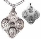 Men's Sterling Silver Oval Medals with Dove Center 4 Way Necklace with Chain Options