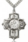5 Way Cross Firefighter Medal, Sterling Silver