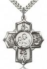 5 Way Cross Firefighter Medal, Sterling Silver