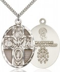 5 Way Cross Holy Spirit Medal, Sterling Silver