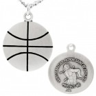 Basketball Shaped Necklace with Saint Sebastian Back in Sterling Silver