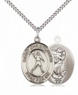 Boy's Pewter Oval St. Christopher Football Medal