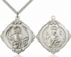 Double-Sided Pewter Sacred Heart of Jesus Necklace