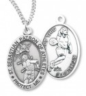 Girl's Oval Double-Sided Basketball Necklace with Saint Sebastian Back in Sterling Silver