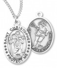 Girl's Oval Double-Sided Lacrosse Necklace with Saint Christopher in Sterling Silver
