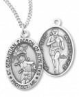 Girl's Oval Double-Sided Track Necklace with Saint Sebastian Back in Sterling Silver